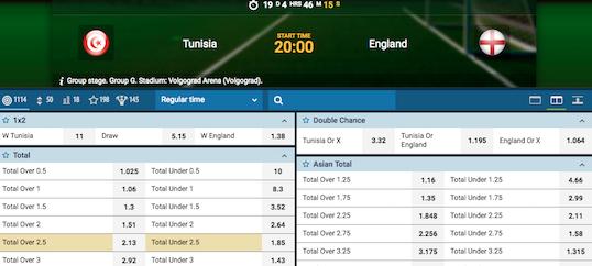 Wedden Tunesie Engeland